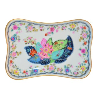 1970s Chinoiserie Tobacco Leaf Trinket Tray For Sale