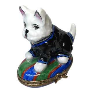 Hand Painted Puppy Limoges Box For Sale