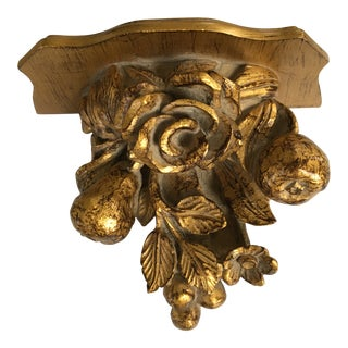 1970s Vintage Gilded Decorative Fruit and Floral Wall Shelf For Sale