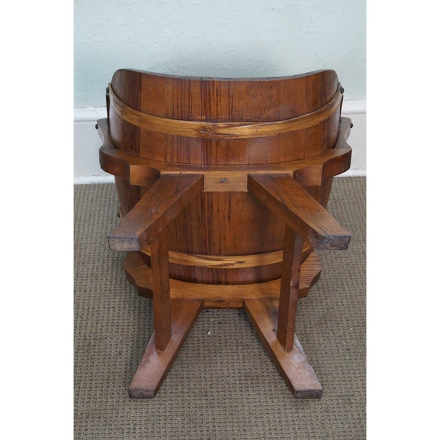 Brown Vintage Oak Barrel Lounge Chairs - A Pair For Sale - Image 8 of 10