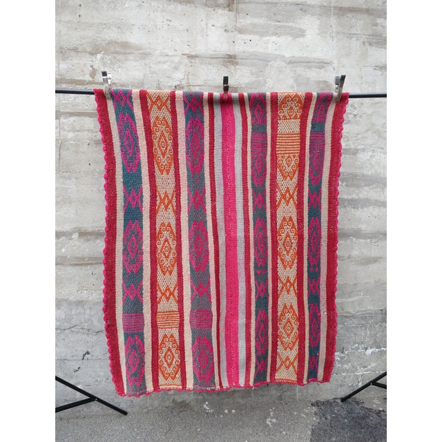 "Boho Chic Peruvian Frazada Rug -- 4'7"" x 5'7"" For Sale - Image 3 of 4"