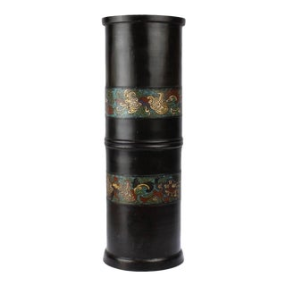 Large Antique Japanese Bronze Champlevé Enamel Umbrella Stand or Floor Vase For Sale
