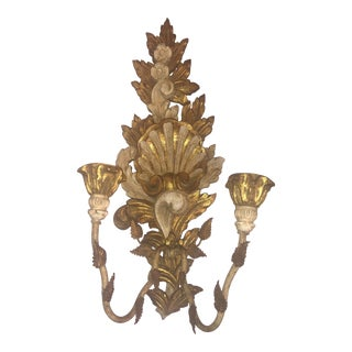 Vintage 1950s Italian Gilded and Painted Wood Candelabra For Sale