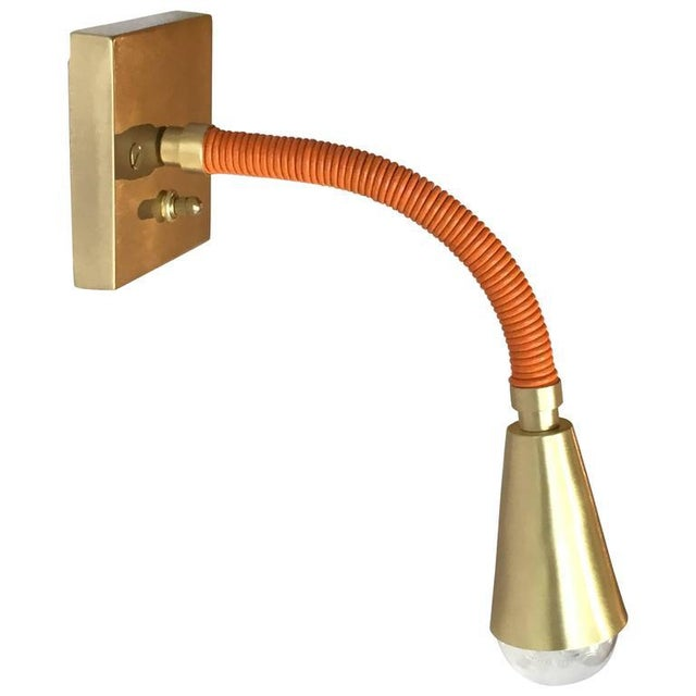Avantgarden Meander Leather and Brass Sconce For Sale In New York - Image 6 of 6