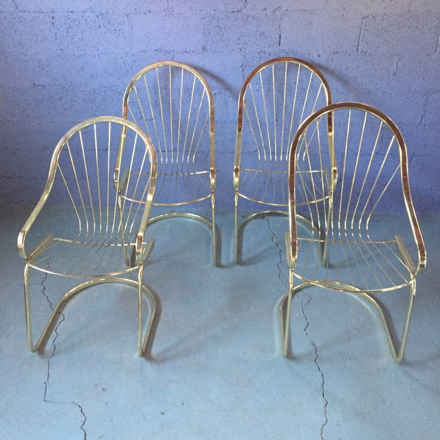 Bassett Gold Wire Cantilever Chair & Table Set - Set of 5 | Chairish
