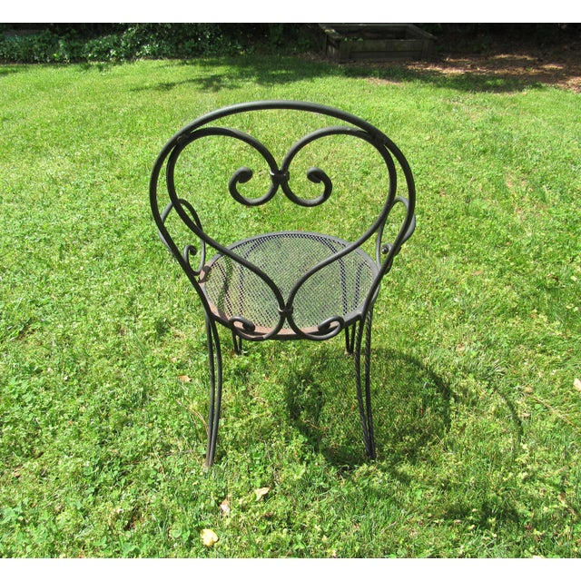 Metal Woodard Parisian Style Wrought Iron Patio Outdoor Bistro Cafe Set- 3 Pieces For Sale - Image 7 of 11