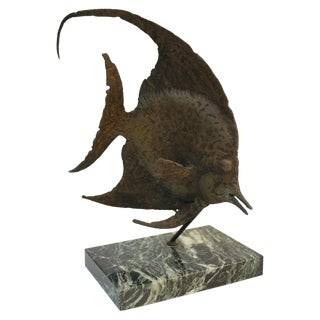 G. Tate Bronze Fish Sculpture on Marble Base For Sale