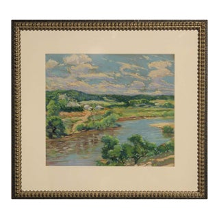 1939 Naturalistic Style Texas River Country Landscape Painting by Raymond Everett, Framed For Sale