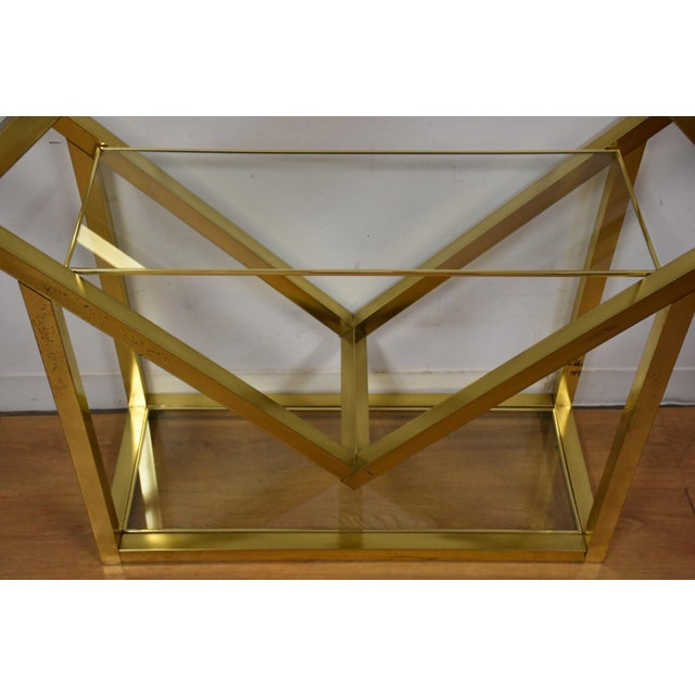 Milo Baughman Style Brass Etagere For Sale - Image 4 of 9