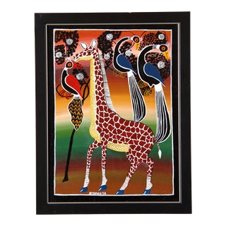 Vintage African Tinga Tinga Oil Painting of a Giraffe by Mtapwata For Sale