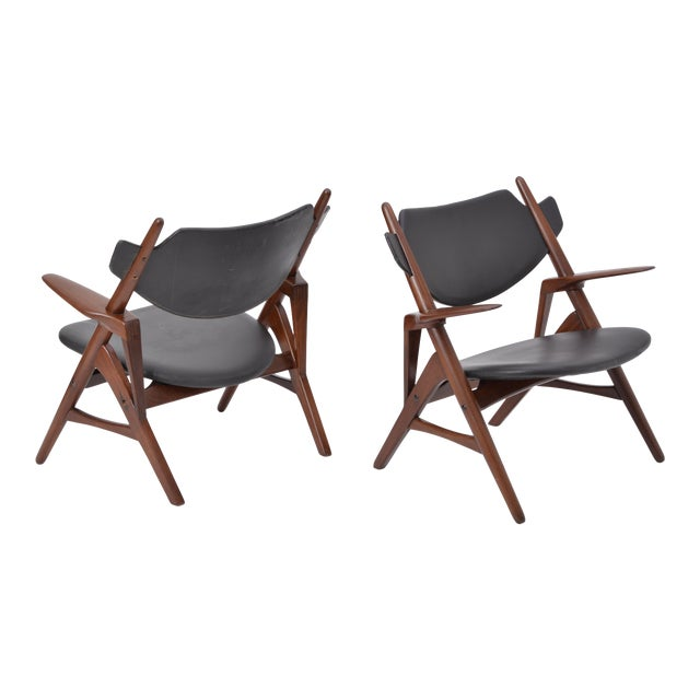 Pair of 1950s Vintage Black Midcentury Chairs For Sale