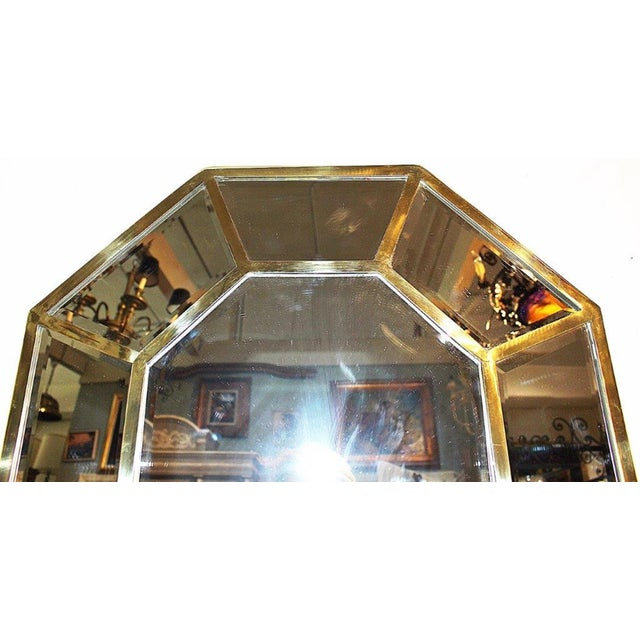 1970s Brass Beveled Mirror-On-Mirror For Sale - Image 5 of 8
