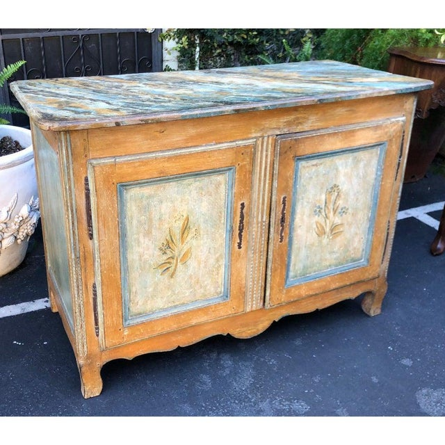 Wood Antique Italian 18th C Tuscan Paint Decorated Sideboard Buffet W Trompe l'Oeil For Sale - Image 7 of 7