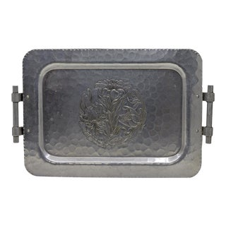 Vintage Aluminum Tray With Lily Design For Sale