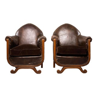 French Art Deco Leather Club Chairs With Velvet Cushions - Pair For Sale