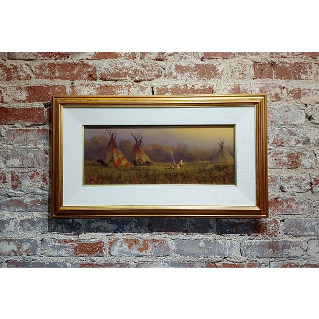 Mark Geller -Panoramic View of Teepees in an Indian Camp -Oil Painting For Sale - Image 10 of 10