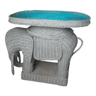 Vintage Woven Rattan Elephant Side Table