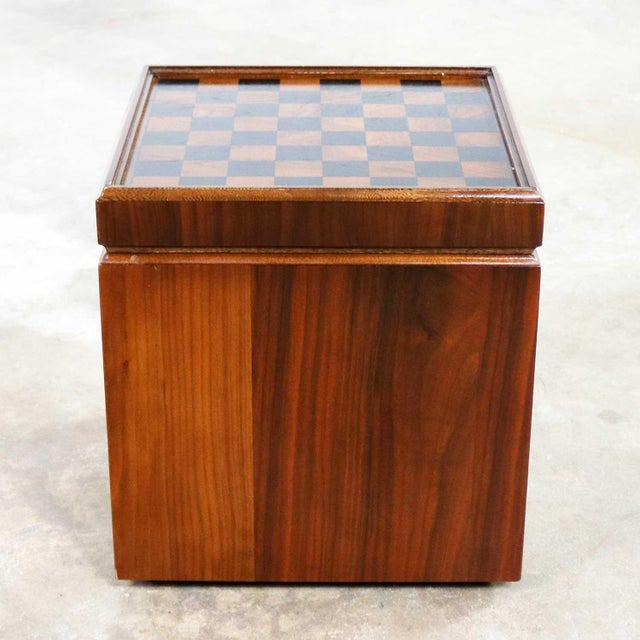 Mid Century Modern Lane Rolling Cube Storage Ottoman With Game Board Flip Table Top For Sale - Image 6 of 13