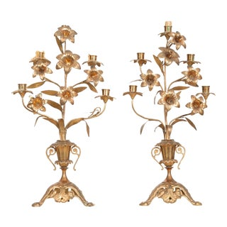 French 19th Century Brass Altar Candelabras - a Pair For Sale