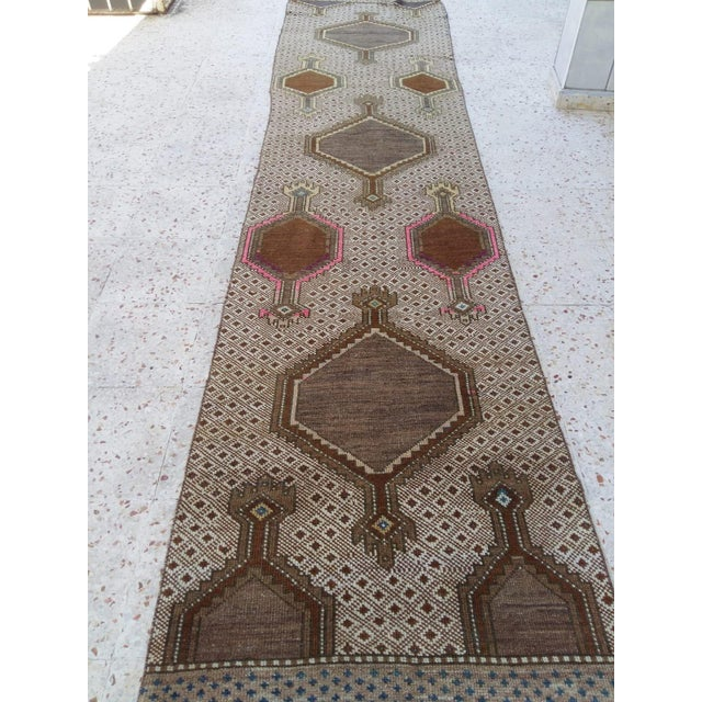 """Antique Caucasian Oushak long Runner dimensions 145""""x33"""" Professionally cleaned Vegetable dye Unique design Ready to ship..."""