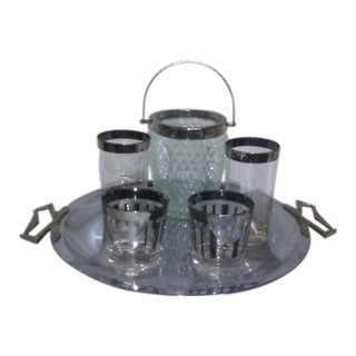 Silver Rimmed Barware - set of 6 For Sale