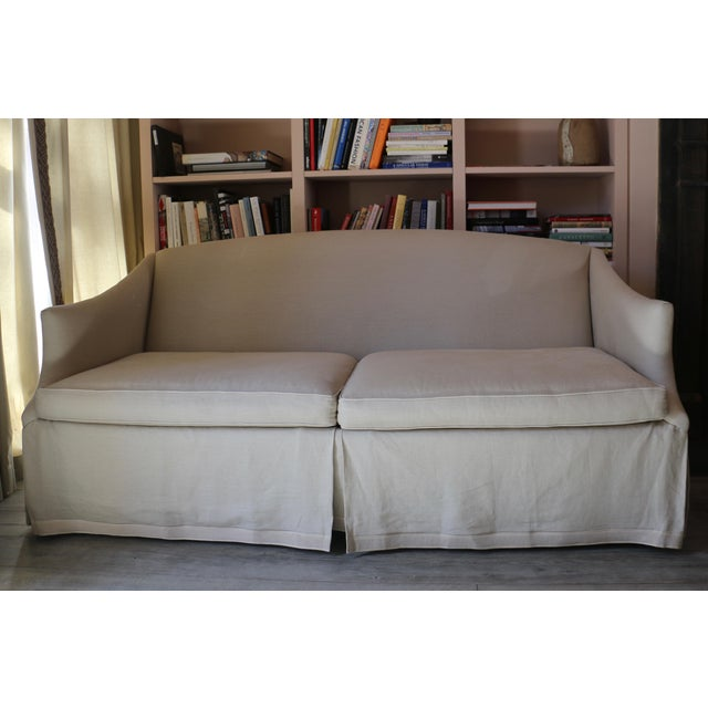 Tan Lee Industries Taupe Linen Sofa For Sale - Image 8 of 8