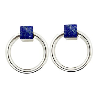 Addison Weeks Porter RIng Pull, Nickel & Lapis - a Pair For Sale