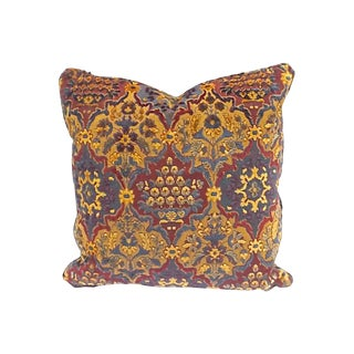 Vintage Geometric Floral Epingle Tapestry Pillow For Sale