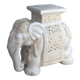 Vintage Ceramic Elephant Garden Stool For Sale