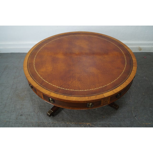 Mahogany Inlaid Leather Top Round Federal Style Coffee Table - Image 3 of 10