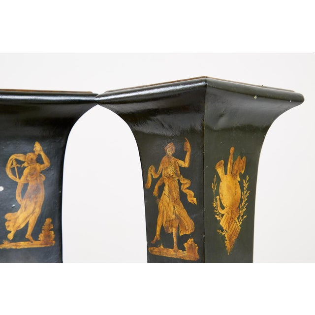 French Neoclassical Directoire Style Tole Vases - a Pair For Sale In San Francisco - Image 6 of 13