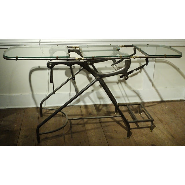 Antique Industrial Metal Glass Medical Chair Table - Image 6 of 11