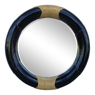 1970's Mid-Century Modern Black Lacquer Circular Mirror For Sale