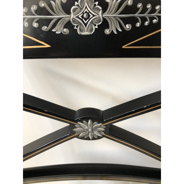 Regency Style Black and Gold Painted Arm Chairs - a Pair For Sale - Image 10 of 13