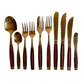 Mid-Century Bronze & Rosewood Flatware - Service for 8 (86 Pieces) For Sale