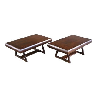 Mid Century Modern Architectural Walnut End Tables - a Pair For Sale