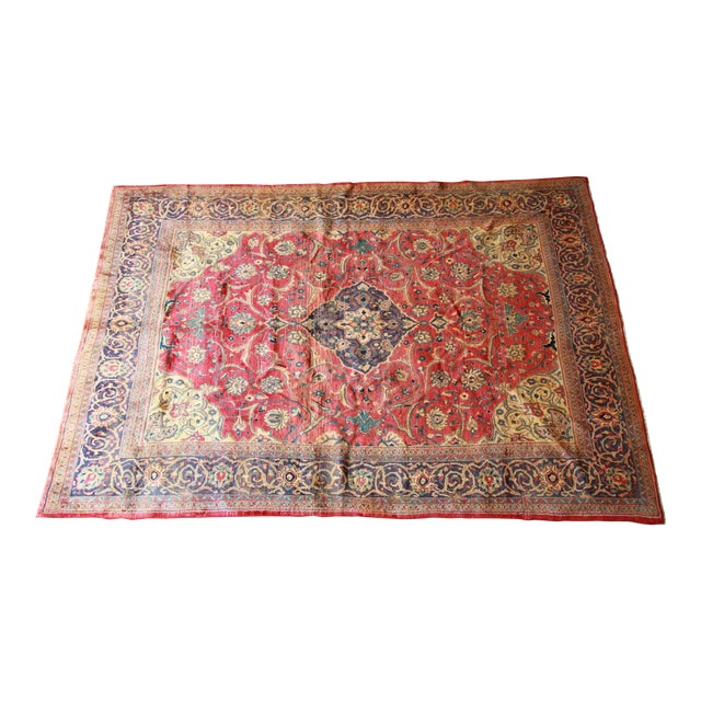 Vintage Hand-Woven Persian Rug - 7′4″ × 8′12″ - Image 1 of 9