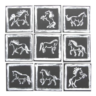 Abstract MInimalist Horse Paintings Set/9 by Cleo Plowden - Set of 9 For Sale