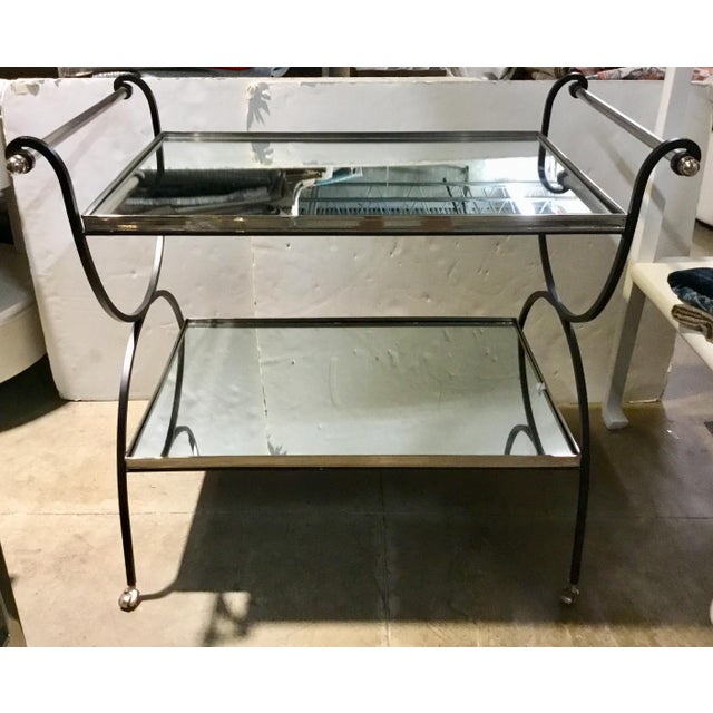 Black Hollywood Regency Cyan Design Iron and Mirror Bar Cart For Sale - Image 8 of 9