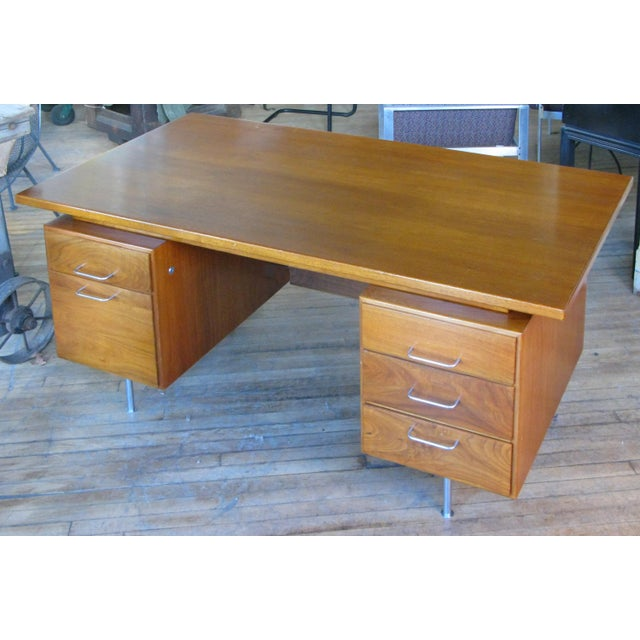 Brown 1950s Mid-Century Modern Walnut Executive Desk by Jens Risom For Sale - Image 8 of 8