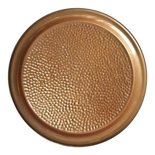 Vintage Round Hammered Copper Tray