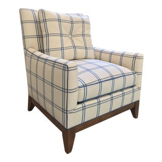 Schumacher Luberon Plaid Fabric Charles Stewart Lounge Chair For Sale
