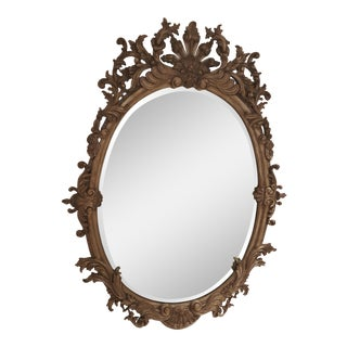Labarage Louis XV Silver Leaf Oval Mirror For Sale