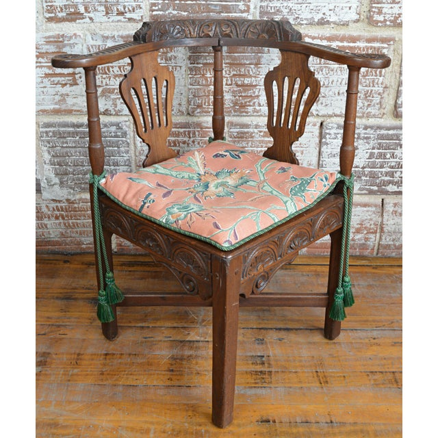19th Century Carved Elm Corner Chair For Sale - Image 13 of 13