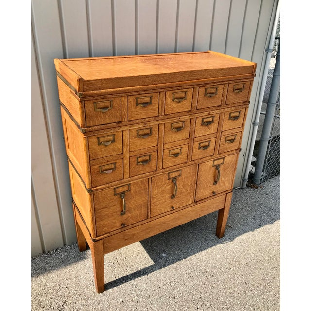 Beautiful 18 drawer cabinet. Very rare early 20th century Globe Files Company (Pre Wernike) signed Art Deco/Arts and...