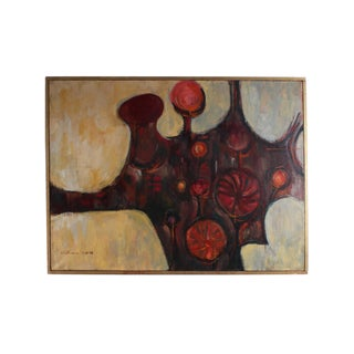 Hickman 1958 Signed Oil on Canvas Abstract Painting For Sale