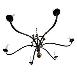 """Monumental Custom Forged-Iron """"Defiance"""" Chandelier with Large Brass Ball Finial For Sale"""