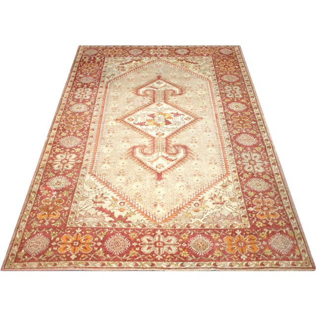 """1920s Turkish Oushak Carpet - 8'3"""" X 12'7"""" For Sale In Los Angeles - Image 6 of 7"""