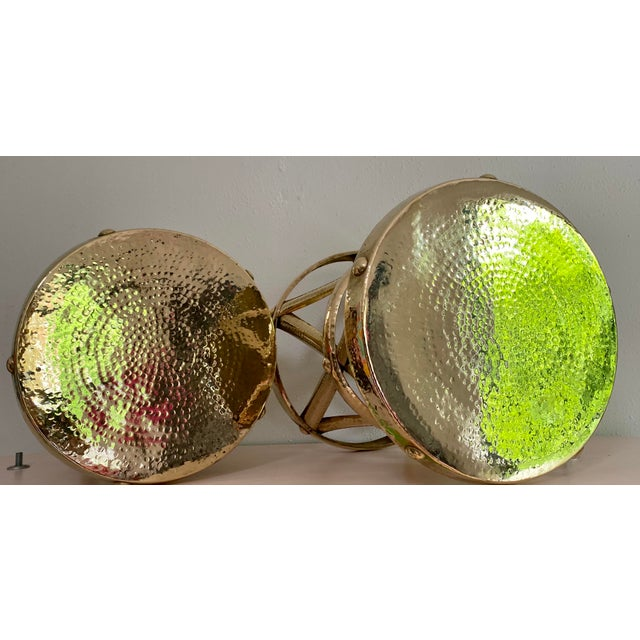 1960s Mid Century Hollywood Regency Polished Brass Drum Tables, a Pair For Sale - Image 5 of 11