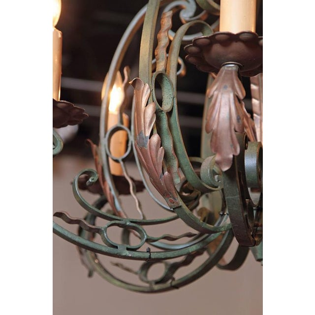 Early 20th Century French Six-Light Iron Chandelier With Verdigris Finish - Image 8 of 10